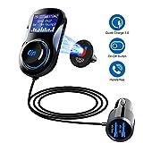 SONRU Transmetteur FM Bluetooth, Deux Ports USB (QC3.0 + 5 V/1 A), Lecteur MP3 de Voiture Mains...