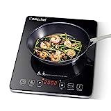Plaque à induction, Amzchef plaque de cuisson à induction avec surface en verre cristal poli noir,...