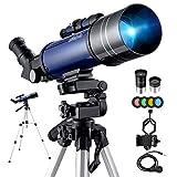 Télescope Astronomique Kit Complet Pro 400/70 Lunette HD Portable Puissant pour Enfants et Adultes...
