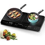 Aobosi plaque de cuisson, table de cuisson à induction double portable, commande par capteur et...