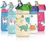 FJbottle Gourde Isotherme Enfant avec paille - 350ML/400ML Bouteille Isotherme Enfant - Sans BPA...