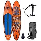 BRAST Stand up Paddle Gonflable Adulte Rigide Summer Orange 10'6 20psi 120kg Drop Stitch 15cm...