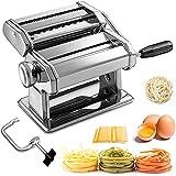 Sailnovo Machine à Pâtes Manuelles en Acier Inoxydable pour Faire Tagliatelle Spaghettis Lasagnes...