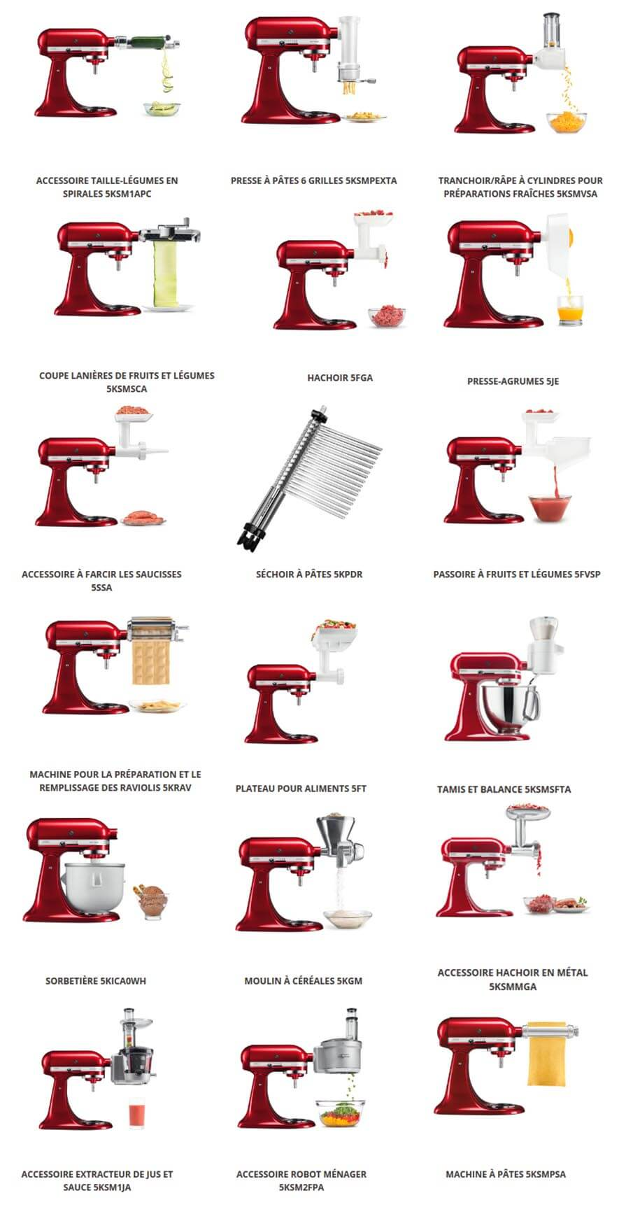 kitchenaid-artisan-tous les accessoires culinaires