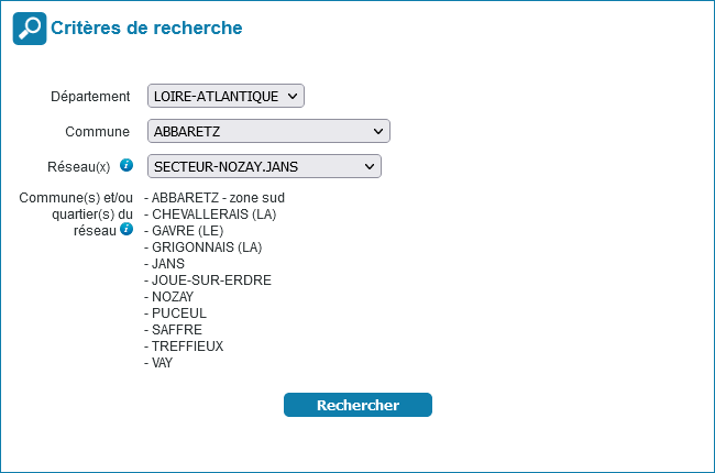 selection departement commune